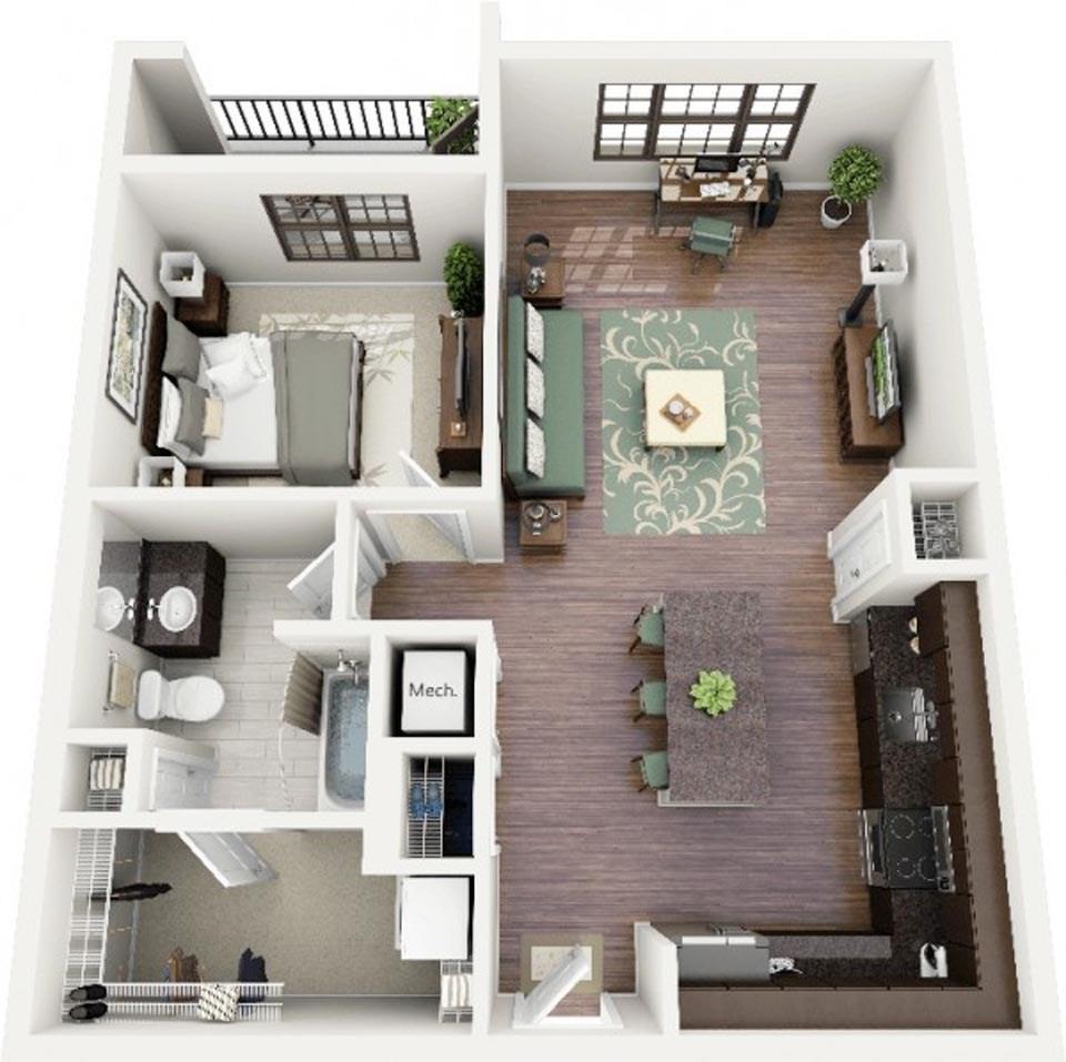 goi y mau thiet ke chung cu 1 phong ngu gia re 2046 12 - Gợi ý mẫu thiết kế chung cư 1 phòng ngủ giá rẻ
