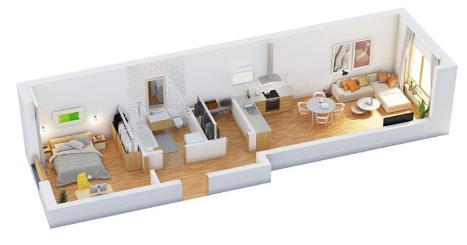 goi y mau thiet ke chung cu 1 phong ngu gia re 2046 15 - Gợi ý mẫu thiết kế chung cư 1 phòng ngủ giá rẻ