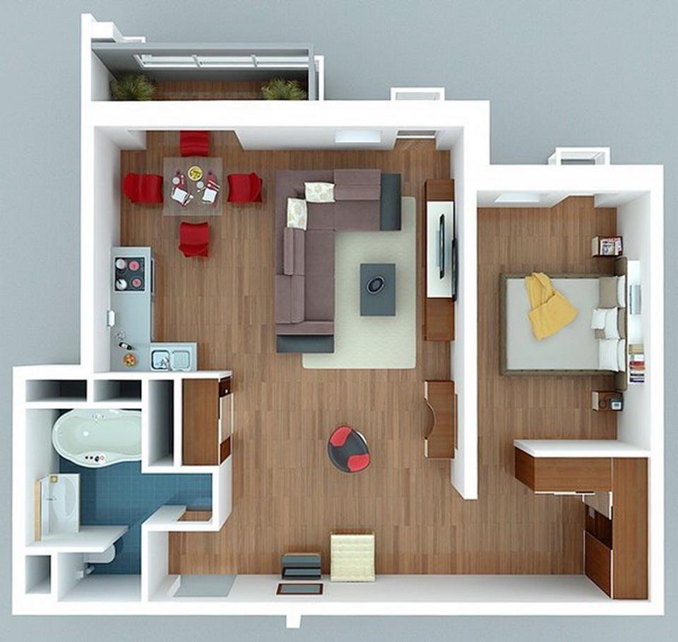 goi y mau thiet ke chung cu 1 phong ngu gia re 2046 24 - Gợi ý mẫu thiết kế chung cư 1 phòng ngủ giá rẻ