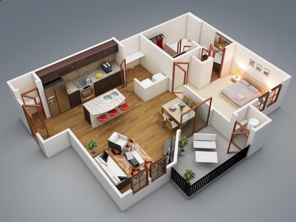 goi y mau thiet ke chung cu 1 phong ngu gia re 2046 4 - Gợi ý mẫu thiết kế chung cư 1 phòng ngủ giá rẻ