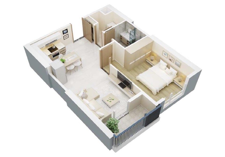 goi y mau thiet ke chung cu 1 phong ngu gia re 2046 5 - Gợi ý mẫu thiết kế chung cư 1 phòng ngủ giá rẻ