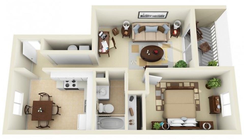 goi y mau thiet ke chung cu 1 phong ngu gia re 2046 6 - Gợi ý mẫu thiết kế chung cư 1 phòng ngủ giá rẻ