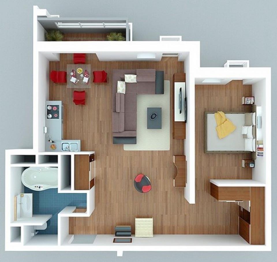 goi y mau thiet ke chung cu 1 phong ngu gia re 2046 9 - Gợi ý mẫu thiết kế chung cư 1 phòng ngủ giá rẻ